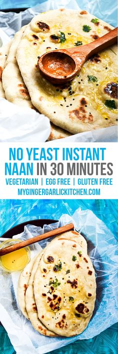 Easy No Instant Naan   Yeast Free Whole Wheat Naan Recipe is basically a simple, quick and easy flat-bread which is usually served with curry, rice, and stew. Making this healthy Wheat Naan aka 'Atta Naan' without oven/tandoor is very simple. From: mygingergarlickitchen.com #naan #noyeast #eggfree #wholewheat #instantnaan #vegetarian #nobake