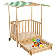 TecTake Sandkasten mit Dach Spielhaus Spielveranda Holz Sonnenschutz - diverse Farben - (Grün | Nr. 400914): Amazon.de: Spielzeug