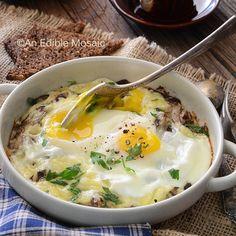 Cheesy Mushroom Baked Eggs for Two by An Edible Mosaic on @BonBon Break