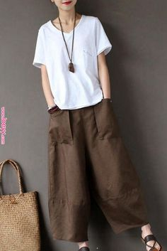 Coffee Loose Cotton Linen Casual Ankle Length Pants Women Clothes P1203 | Linen Trousers-[Fantasylinen] | Pants for women, Fashion, Clothes for women Coffee Loose Cotton Linen Casual Ankle Length Pants Women Clothes P1203 | Linen Trousers-[Fantasylinen] | Pants for women, Fashion, Clothes for..