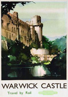 "TU1 Vintage Warwick Castle Railway Travel Poster Print A3 17""x12"""