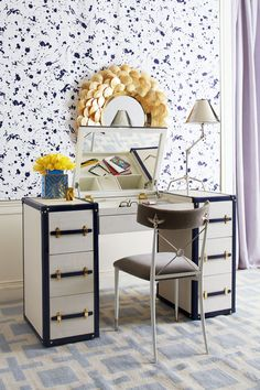 Designer Justina Blakeney created this special vanity area in her bedroom using an assortment of items Jonathan Adler, Pink Vanity, Custom Vanity, Vanity Design, Cube Storage, New Furniture, Interiores Design, Decoration, Interior And Exterior