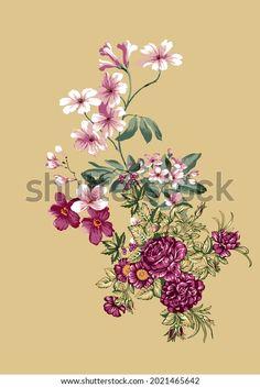 Digital Textile Design Motif Botanical Flower Stock Illustration 2021465642