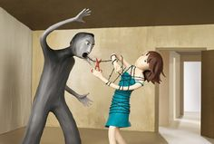 This image relates to when we talked about violence and violence towards women. This shows that yelling at someone is still violence. hence the barbed wire wrapped around the woman. It is still considered a form of violence.(in-class discussion,March Illustrations, Illustration Art, Sweet Station, Simple Minds, Moral, Secret Life, Domestic Violence, Art Lessons, Lessons Learned