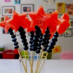 Watermelon Blueberry July Fourth Fruit Kabobs food july 4 july 4th fourth of july july fourth party ideas party favors summer food