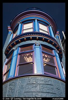 Brightly painted blue tower of Victorian house, San Francisco