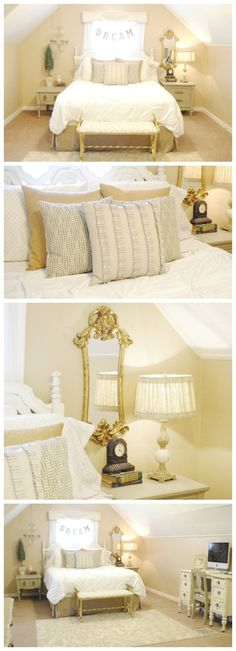 Gorgeous Master Bedroom Makeover - Love the neutrals and gold accents! | www.classyclutter.net