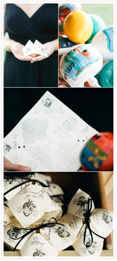 creative and interactive wedding programs, cootie catchers or paper fortune tellers, and when unfolded revealed all the information from their wedding.