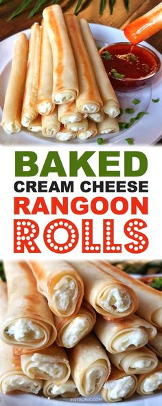 Baked Cream Cheese Rangoon Rolls - an easy appetizer or snack idea The most delicious finger food EVER tastes like the Panda Express rangoons Kids and adults love them Finger Food Appetizers, Easy Appetizer Recipes, Yummy Appetizers, Appetizers For Party, Finger Food Recipes, Camping Appetizers, Birthday Appetizers, Appetizer Ideas, Recipes Dinner