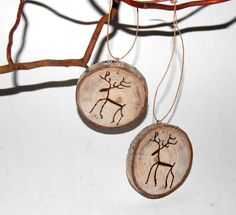 Wood Christmas Ornament - Set of 2 - Reindeer Ornament - Tree Slice -