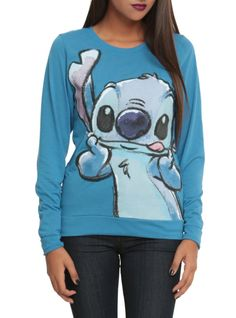 Blue pullover top with Stitch sticking his tongue out.
