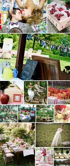 inspiration picnic weddings...love the cherry favors and the lunch boxes...the bottom left is very picnic/garden party feel