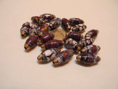 20 Multicolor Black White and Blue Shiny Oval Paper Beads by ANoelCollection