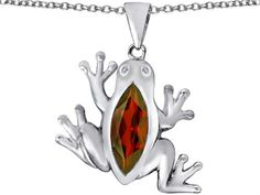 Star K Lucky Frog Pendant Necklace with Marquise Shape Simulated Garnet Sterling Silver. Finejewelers is a US company based in New York. Guaranteed Authentic from the Star K designer line. Star K. Designs are exclusive and protected by Copyright Laws. Chain in a matching metal will be included. Lifetime Warranty exclusively offered by Finejewelers.