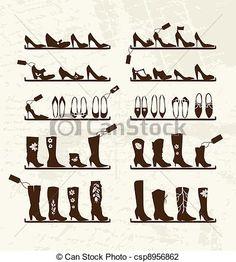 ベクター - スケッチ, 棚, 靴, ブーツ, デザイン, あなたの, 店 - ストックイラスト, ロイヤリティーフリーイラスト, ストッククリップアートアイコン, ロゴ, ラインアート, EPS画像, 画像, グラフィック, ベクター画像, アートワーク, EPSベクターアート