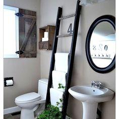 #bathroomdecor #laddertowelrack #ladder #woodenladder #towelrack #barnshutters #decor #countrybathroom #bathroomideas  #repurposeladder #repurpose #barnwood  #repurposed #repurposedwood #diy #diyproject #diycrafts #diybathroom #simple # by this_that_and_the_other Bathroom designs.
