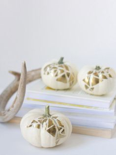 DIY Geometric Gold and White Pumpkins