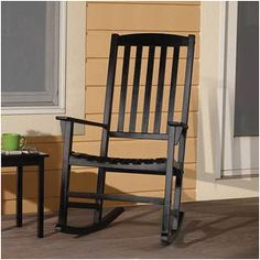 Mainstays Outdoor Rocking Chair, Black The contemporary design of this Mainstays's Outdoor Wooden Porch Rocker is ideal for relaxing on your front porch. Rocking Chair Porch, Wooden Rocking Chairs, Outdoor Rocking Chairs, Adirondack Chairs For Sale, Patio Seating, Cool Chairs, Porch Decorating, Decorating Ideas, Outdoor Living