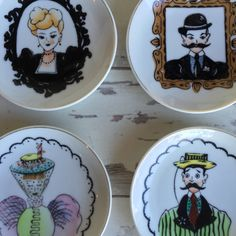 Vintage Lefton Mini Plates - Gay 90s Man and Women - Set of 4 Decorator Porcelain by TheClassicButterfly on Etsy