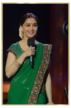 Madhuri Dixit wearing Green and gold - an amazing vintage combination.