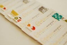 glam up biz cards with scrap paper, stitching, fabric, punches, stamps...