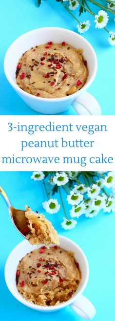 This Vegan Peanut Butter Microwave Mug requires only 3 ingredients and 5 minutes to make! Easy to make, refined sugar free, gluten-free optional.