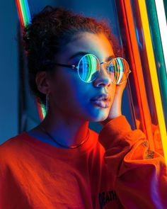 Looking through the rainbow IG: Jello_Bodega Neon Photography, Portrait Photography Poses, Creative Photography, Photography Of People, Aesthetic Photography People, Modelling Photography, Art Photography Women, Portrait Lighting, Portrait Images