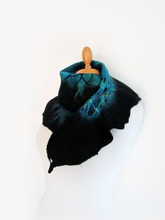 Hand felted scarf teal turquoise and black by GabardineCouture