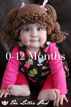 Cabbage Patch Kid Inspired Crochet Wig/Hat, 0-12 MONTHS Size, Custom made