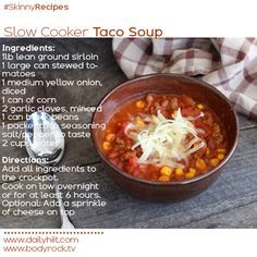 Skinny Slow Cooker Taco Soup