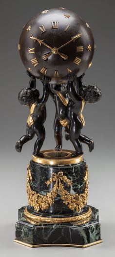 A CONTINENTAL BRONZE, GILT BRONZE AND MARBLE FIGURAL CLOCK, circa 1900.