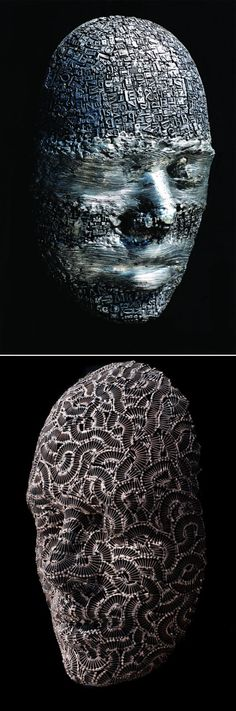 Figurative sculptures of artist Dale Dunning who welds together metal type and steel hardware to create intricate masks and heads.