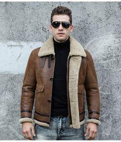Günstige Männer Fell Einem Jacke Doppelseitigen Pelz männer Lederjacken Air Force Flight Anzug Revers Dicke Kurze jacke Warm Halten WZS2016001, Kaufe Qualität Echtes Leder Mäntel direkt vom China-Lieferanten: