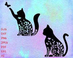 Cat Tattoo Designs, Shirt Designs, Cat Clipart, Disney Silhouettes, Silhouette Clip Art, Floral Crown, Svg Files For Cricut, Cat Art, Digital Image