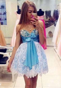 Ball Gown,Sweetheart Dresses,Short Dresses,Blue Dresses,Homecoming Dresses 2017