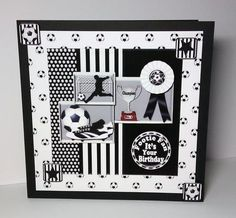"""Black n White Football on Craftsuprint designed by Janyce Cotterill - made by Lynda Tully - I printed the design onto crafty Bob's matte photo paper and cut out all the elements...I matted and layered the main image with a football backing paper and mounted it onto black card stock. I added the decoupage using foam pads...to finish I added a little glitter to the cup...another """"Striking"""" design from Janyce. - Now available for download!"""