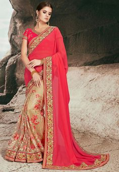 Sarees Online: Buy Pink Pure Silk Designer Foil Print Saree At Best Price On Variation. Huge Collection Of Designer Sarees, Party Wear Sarees, Wedding Sarees And Printed Sarees For Women. Shipping Worldwide Including India, Usa, Uk And Canada. Look Festival, Festival Wear, Fancy Sarees, Party Wear Sarees, Chiffon Saree, Chiffon Fabric, Red Chiffon, Saree Dress, Silk Fabric