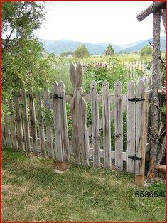 Garden Gates And Fencing, Fence Gate, Rabbit Garden, Rabbit Fence, Garden Structures, Dream Garden, Yard Art, Garden Projects, Garden Ideas