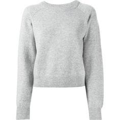 T by Alexander Wang Cashwool Crew Neck Crop Sweater in Heather Grey as seen on Jennifer Lawrence