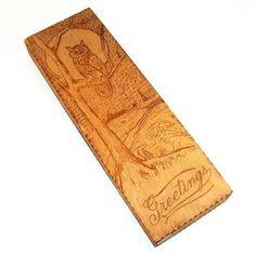 Pyrographic Greetings Handkerchief/Glove Box