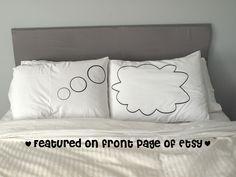 Unique Thought Bubble Pillow Case For Weddings, Couples Love Pillowcases. $34.99, via Etsy.