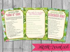 Instant download bachelorette game bundle! These printable flamingo and fern bachelorette party games are the perfect way to get everyone in the mood to celebrate the bride-to-bes last flamingle!