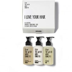 Stop the water while using me! All Natural Travel Hair Kit, 3 x 200 ml. (Zum Shop: http://www.hotel4home.com/hotels/25hours-hotels/stop-the-water-while-using-me-all-natural-cosmetics-hair-kit-3-x-200-ml.html)