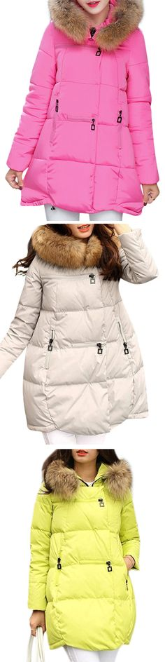 [Newchic Online Shopping] 46%OFF Pure Color Faux Fur Down Coats
