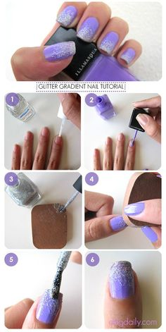 DDG How to: Purple tastic Glitter Gradient Nails! How to create gorgeous lavendar and silver glitter nail art at home