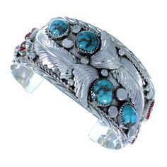Sterling Silver Turquoise And Coral Navajo Feather Cuff Bracelet