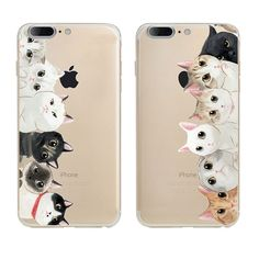 Back Cover For Apple Iphone 7 Soft TPU Case Lovely Cats Familly Design Painted Cases For Iphone 7 Protective Case