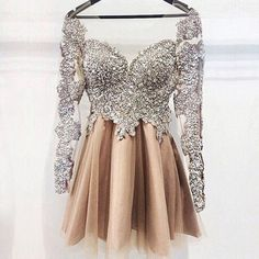 Luxurious short cocktail/prom/homecoming dress - champagne long sleeves with beaded