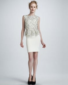 Shovan Lace-Bodice Peplum Dress by Alice + Olivia at Bergdorf Goodman.