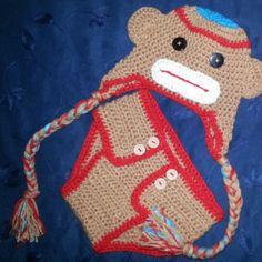monkey set gorro cubre pañal crochet